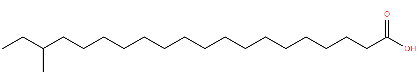 Structural drawing of 18-methyl-eicosanoic acid